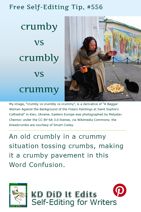 Pinterest pin for Crumby vs Crumbly vs Crummy