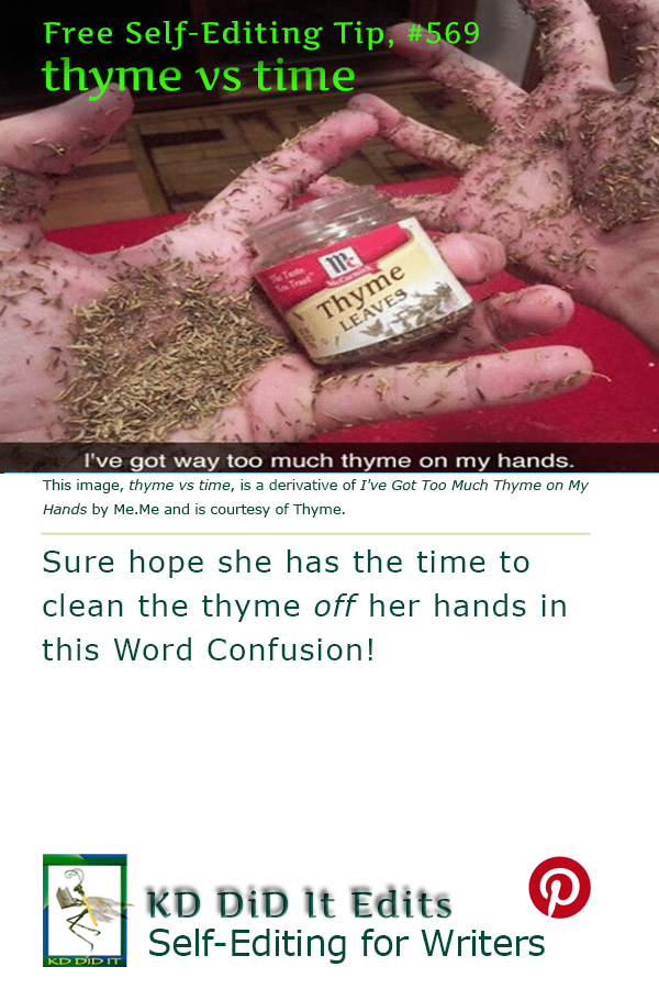 Pinterest pin for Thyme versus Time
