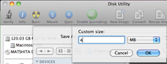 Figure 4. Cheating Disk Utility into a tiny emailable size.