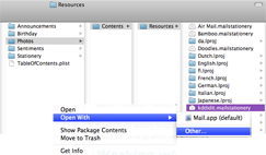 Shows a dialog box with the location of the different selections to open my copy of Espresso, my web editing program.
