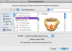 Shows my applications window
