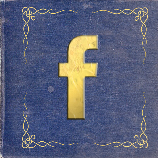 Facebook icon centered in a deep blue book with gold corner scrollwork