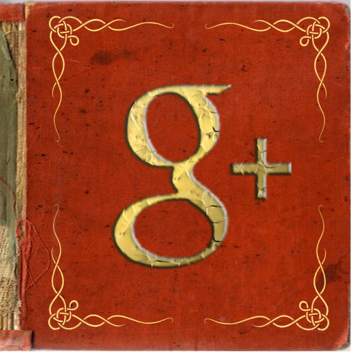 Google+ icon centered in an orange book with gold corner scrollwork