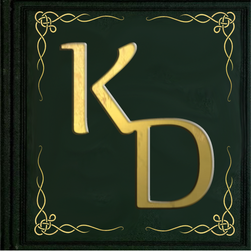 KD Did It icon centered in a dark green book with gold corner scrollwork