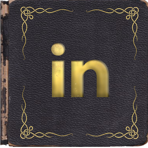 LinkedIn icon centered in a dark blue book with gold corner scrollwork