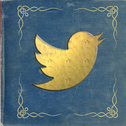 Twitter icon centered in a deep turquoise book with gold corner scrollwork